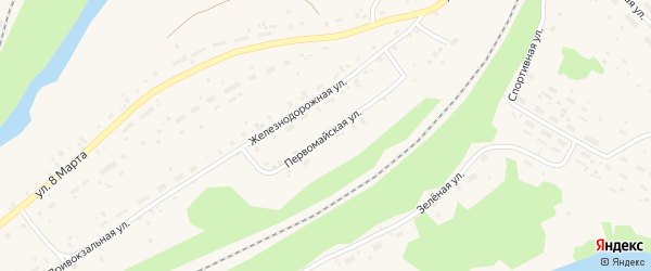 Первомайская улица на карте поселка Подюги с номерами домов