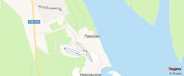 Карта деревни Павлово города Новодвинска в Архангельской области с улицами и номерами домов