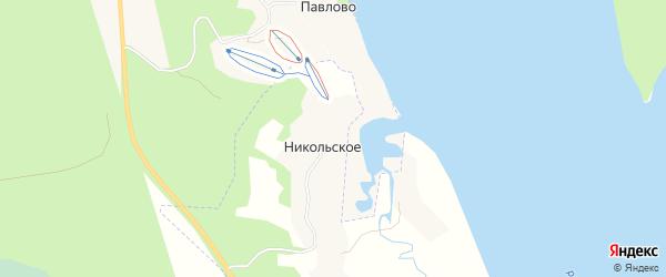 Карта деревни Никольского в Архангельской области с улицами и номерами домов