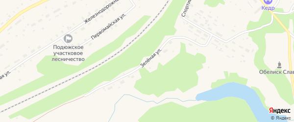 Зеленая улица на карте поселка Подюги с номерами домов