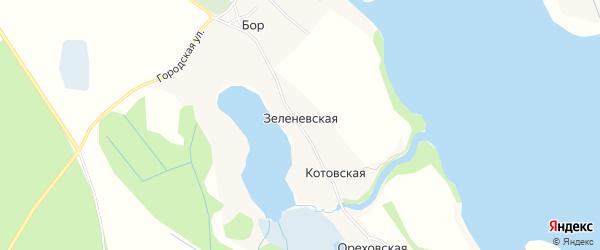 Карта Зеленевской деревни в Архангельской области с улицами и номерами домов