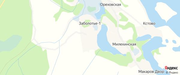 Карта деревни Заболотья-1 в Архангельской области с улицами и номерами домов