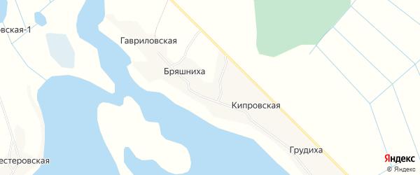 Карта деревни Бряшнихи в Архангельской области с улицами и номерами домов