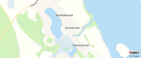 Карта Котовской деревни в Архангельской области с улицами и номерами домов