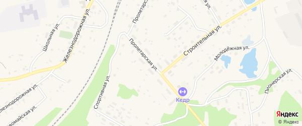 Пролетарская улица на карте поселка Подюги с номерами домов
