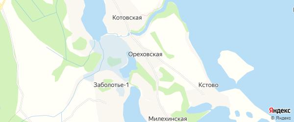 Карта Ореховской деревни в Архангельской области с улицами и номерами домов