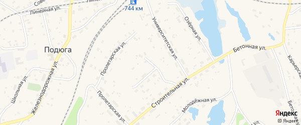 Песчаный переулок на карте поселка Подюги с номерами домов