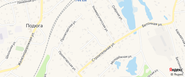 Прохладный переулок на карте поселка Подюги с номерами домов