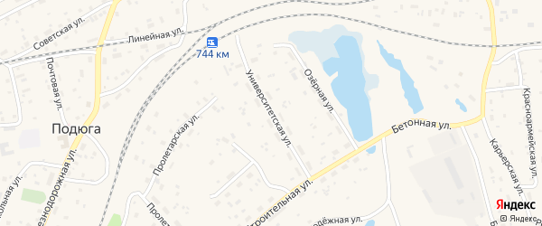 Университетская улица на карте поселка Подюги с номерами домов