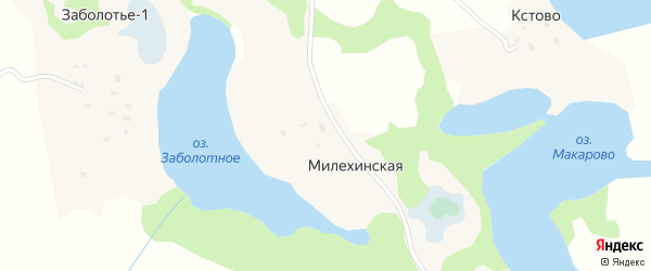 Милехинская улица на карте Милехинской деревни с номерами домов