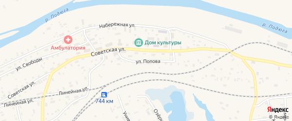 Улица им Попова на карте поселка Подюги с номерами домов