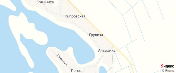 Карта Кипровской деревни в Архангельской области с улицами и номерами домов