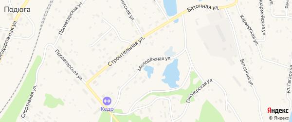 Молодежная улица на карте поселка Подюги с номерами домов