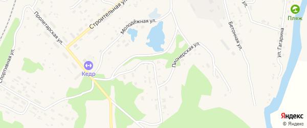 Пионерская улица на карте поселка Подюги с номерами домов