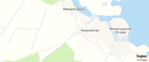 Карта деревни Проково в Архангельской области с улицами и номерами домов
