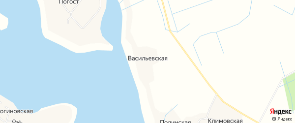 Карта Васильевской деревни в Архангельской области с улицами и номерами домов