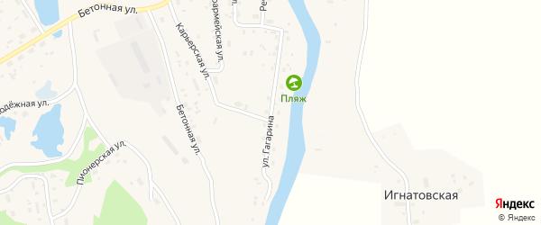 Улица Гагарина на карте поселка Подюги с номерами домов