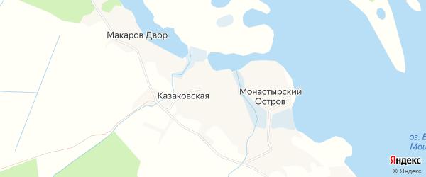 Карта Казаковской деревни в Архангельской области с улицами и номерами домов