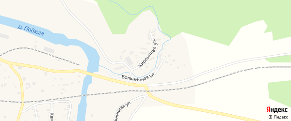 Кирпичная улица на карте поселка Подюги с номерами домов