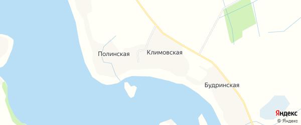 Карта Полинской деревни в Архангельской области с улицами и номерами домов
