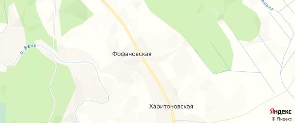 Карта Фофановской деревни в Архангельской области с улицами и номерами домов