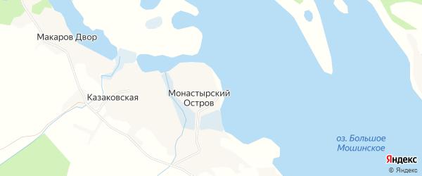 Карта деревни Монастырского Острова в Архангельской области с улицами и номерами домов