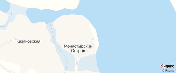 Тенистая улица на карте деревни Монастырского Острова с номерами домов