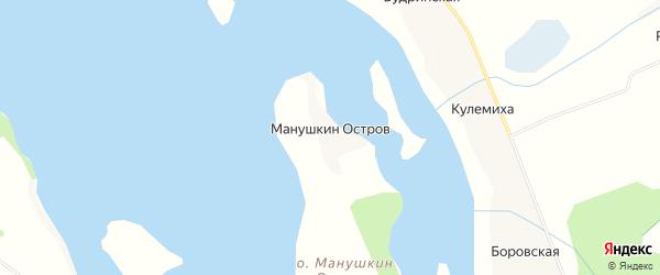 Карта деревни Манушкина Остров в Архангельской области с улицами и номерами домов