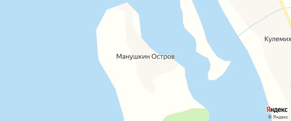 Островная улица на карте деревни Манушкина Остров с номерами домов