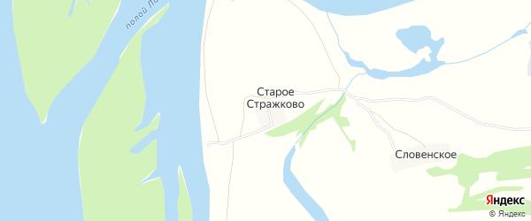 Карта деревни Старого Стражково в Архангельской области с улицами и номерами домов