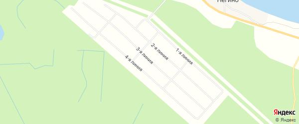 Карта садового некоммерческого товарищества Негино в Архангельской области с улицами и номерами домов