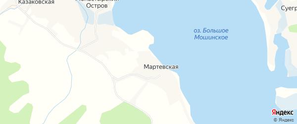 Карта Мартевской деревни в Архангельской области с улицами и номерами домов
