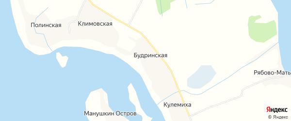 Карта Будринской деревни в Архангельской области с улицами и номерами домов