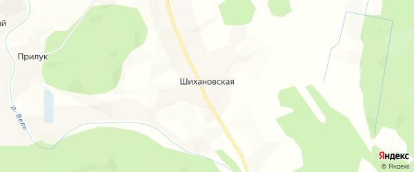 Карта Шихановской деревни в Архангельской области с улицами и номерами домов