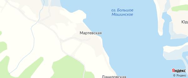 Карта Юдинской деревни в Архангельской области с улицами и номерами домов