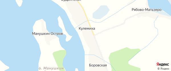 Карта деревни Кулемихи в Архангельской области с улицами и номерами домов