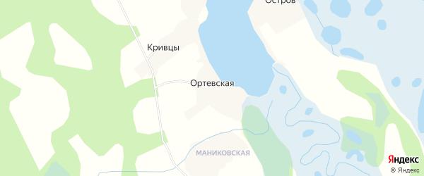 Карта Ортевской деревни в Архангельской области с улицами и номерами домов