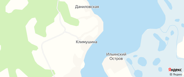Карта деревни Климушиной в Архангельской области с улицами и номерами домов
