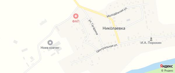 Зеленая улица на карте деревни Николаевки с номерами домов