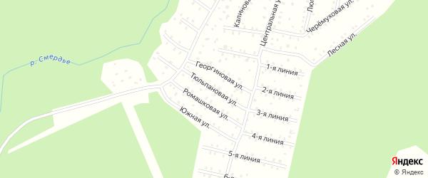 Тюльпановая улица на карте населенного пункта СНТ Зори Севера с номерами домов