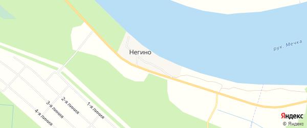 Карта деревни Негино в Архангельской области с улицами и номерами домов
