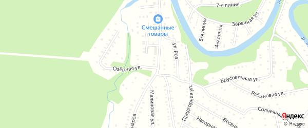 Малиновая улица на карте садового некоммерческого товарищества Садоводы Севера сад N6 с номерами домов