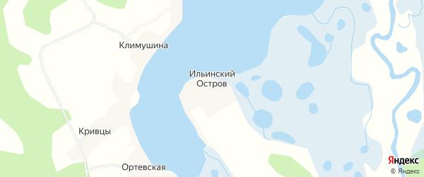 Карта деревни Ильинского Остров в Архангельской области с улицами и номерами домов