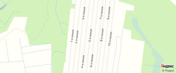 Карта садового некоммерческого товарищества Уемляночки в Архангельской области с улицами и номерами домов
