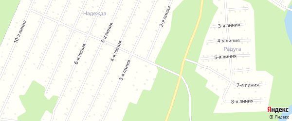 Улица 2-я Линия на карте населенного пункта СНТ Надежды с номерами домов