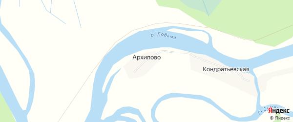 Карта деревни Архипово в Архангельской области с улицами и номерами домов