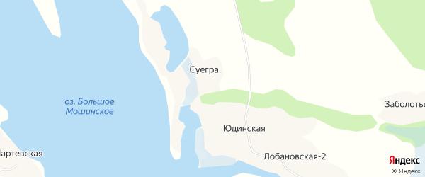 Карта деревни Суегры в Архангельской области с улицами и номерами домов