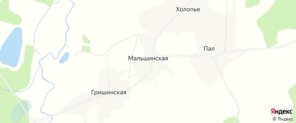 Карта Мальшинской деревни в Архангельской области с улицами и номерами домов