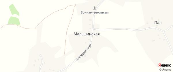 Центральная улица на карте Мальшинской деревни с номерами домов