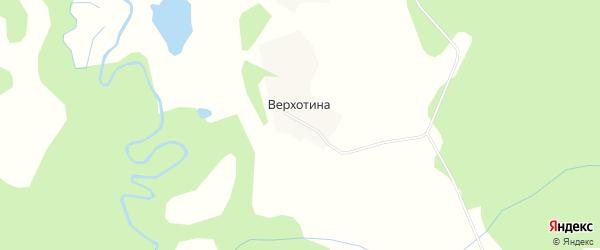 Карта деревни Верхотиы в Архангельской области с улицами и номерами домов